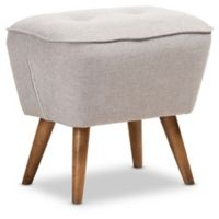 Baxton Studio Polyester Upholstered Petronelle Ottoman in Grey/Beige