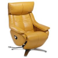 Vienna Leather Recliner with Ottoman in Yellow