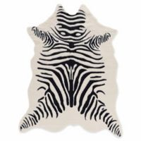 Linon Home Zebra 5' x 6'6 Handcrafted Area Rug in Ivory
