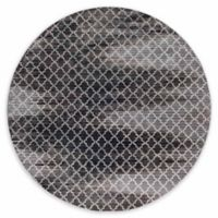 Linon Home Evolution Charisma Trellis 8' Round Area Rug in Grey