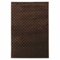 Linon Home Hi Lo Plateau Trellis 5' x 7'6 Area Rug in Brown