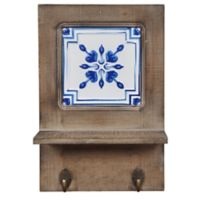 Ceramic Tile 2-Hook Wall Art in Walnut