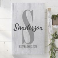 Personalized Farmhouse Initial Accent 24-Inch x 36-Inch Canvas Print