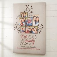 Personalized Photo Family Tree 16-Inch x 24-Inch Canvas Print