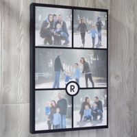 Personalized 5 Photo and Initial Collage 12-Inch x 18-Inch Canvas