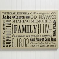 Personalized Our Family 12-Inch x 18-Inch Canvas