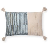 Magnolia Home by Joanna Gaines Amie Oblong Throw Pillow in Ivory/Blue