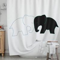 KESS InHouse® Elephant Love Shower Curtain in Black/White