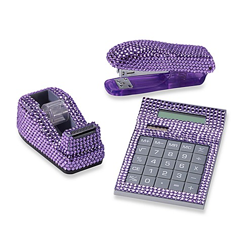 Rhinestone Desk Set In Purple Bed Bath Amp Beyond