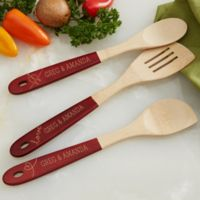 Personalized Lovebirds Red-Handled Bamboo Cooking Utensils