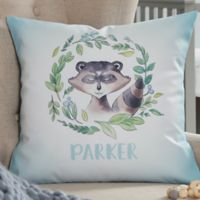 Woodland Raccoon Personalized 14-Inch Throw Pillow