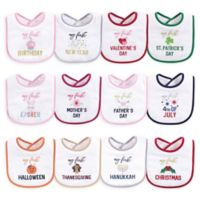 Hudson Baby® 12-Pack Holiday Drooler Bibs for Girls