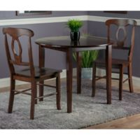 Winsome Trading 3-Piece Clayton Round Drop Leaf Dining Table and Renaissance Chairs in Walnut