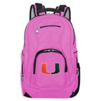 University of Miami Laptop Backpack in Pink
