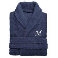 Linum Home Textiles Large/X-Large Herringbone Turkish Cotton Unisex Bathrobe in Midnight Blue