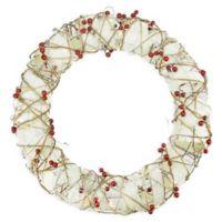 Burlap & Berry Rattan 18-Inch Pre-Lit Christmas Wreath