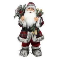 24-Inch Santa Claus with Snowshoes and Skis Figurine