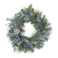 24-Inch Pine, Blueberries & Snowy Pinecone Wreath
