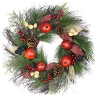 24-Inch Harvest Mixed Pine Artificial Christmas Wreath