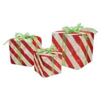 Northlight Pre-Lit Gift Box Decorations in Red/White (Set of 3)
