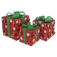 Northlight Pre-Lit Gift Box Yard Art Decorations in Red/Green (Set of 3)