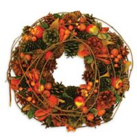 13-Inch Artificial Autumn Harvest Apples, Berries & Pine Cones Wreath