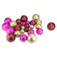 27-Count Christmas Ball Ornaments in Gold/Fuchsia