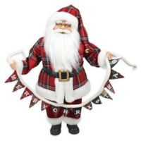 18-Inch Santa Claus Holding a Pine Garland Tabletop Decoration