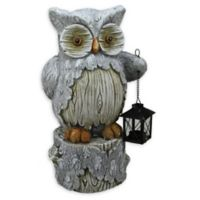 Northlight® 17-Inch Rustic Owl with Lantern Candle Holder