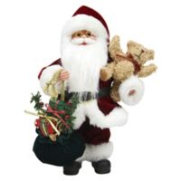 12-Inch Santa Claus Figurine with Teddy Bear