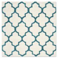 Safavieh Kids® Trellis Sketch Shag 6'7 Square Area Rug in Ivory/Blue