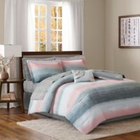Madison Park Essentials Saben 9-Piece Cal King Complete Comforter and Cotton Sheet Set in Blush