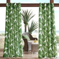 Madison Park Everett Printed Palm 3M Scotchgard 95-Inch Grommet Top Outdoor Curtain Panel in Green