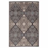 Linon Home Plateau Medallions 5' x 8' Area Rug in Blue