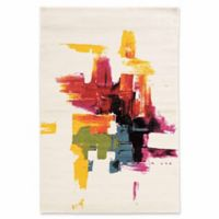 Linon Home Weho Brush Stroke 2' x 3' Accent Rug in Ivory