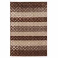 Linon Home Charisma Trellis Stripes 5' x 7'6 Area Rug in Brown