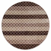 Linon Home Charisma Trellis Stripes 8' Round Rug in Brown