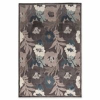 Linon Home Plateau Floral 2' x 3' Accent Rug in Blue
