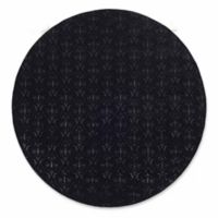 Linon Home Charisma Damask 8' Round Area Rug in Black