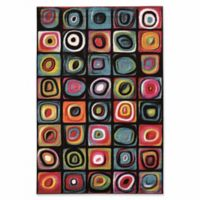 Linon Home Weho Hopscotch 5' x 7'6 Area Rug in Black