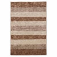 Linon Home Charisma Damask Stripe 2' x 3' Accent Rug in Beige