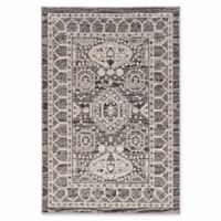 Linon Home Aristocrat Hamadan 9' x 12' Area Rug in Grey/Ivory