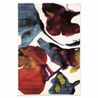 Linon Home Weho Watercolor 2' x 3' Power-Loomed Accent Rug in Ivory