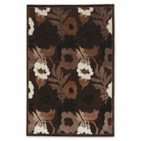 Linon Home Plateau Floral 2' x 3' Power-Loomed Accent Rug in Brown