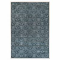 Linon Home Charisma Damask 5' x 7'6 Area Rug in Blue