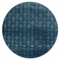 Linon Home Charisma Damask 8' Round Area Rug in Blue