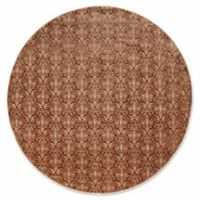 Linon Home Charisma Damask 8' Round Area Rug in Brown