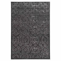Linon Home Plateau Trellis 5' x 8' Power-Loomed Area Rug in Blue