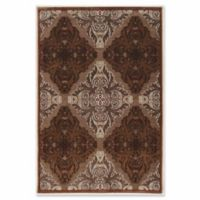 Linon Home Plateau Medallion Power-Loomed 5' x 8' Area Rug in Brown