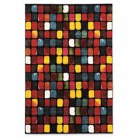 Linon Home Weho Paint Box 5' x 7'6 Power-Loomed Area Rug in Black
